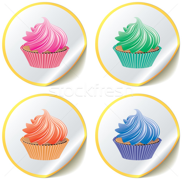 cupcakes on paper stickers Stock photo © freesoulproduction