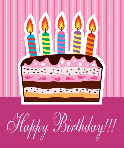 Vetor bolo de aniversário velas festa feliz bolo Foto stock © freesoulproduction