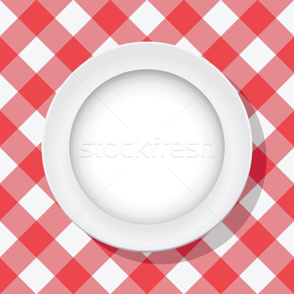 Vektör kırmızı piknik masa örtüsü boş plaka Stok fotoğraf © freesoulproduction