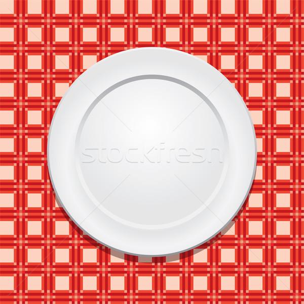 Vektor Picknick Tischdecke leer Platte Textur Stock foto © freesoulproduction