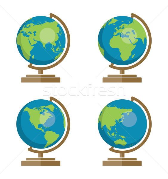 vector collection of school earth globes icons for geography ill Stock photo © freesoulproduction