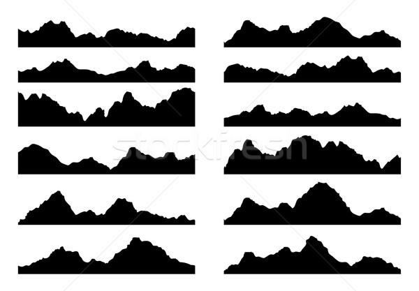 vector set of black and white mountain silhouettes Stock photo © freesoulproduction