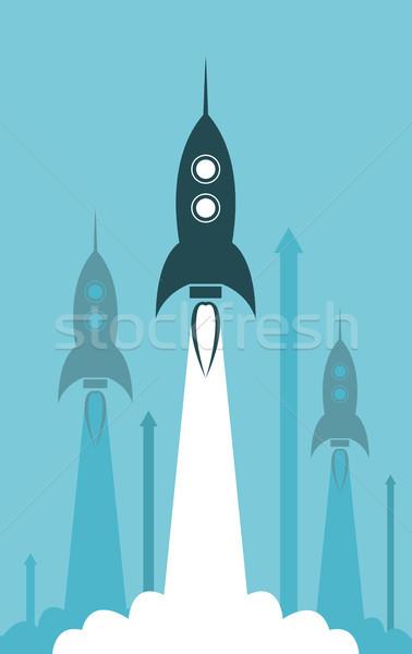 Vektor csoport rakéta indulás illusztráció üzlet Stock fotó © freesoulproduction