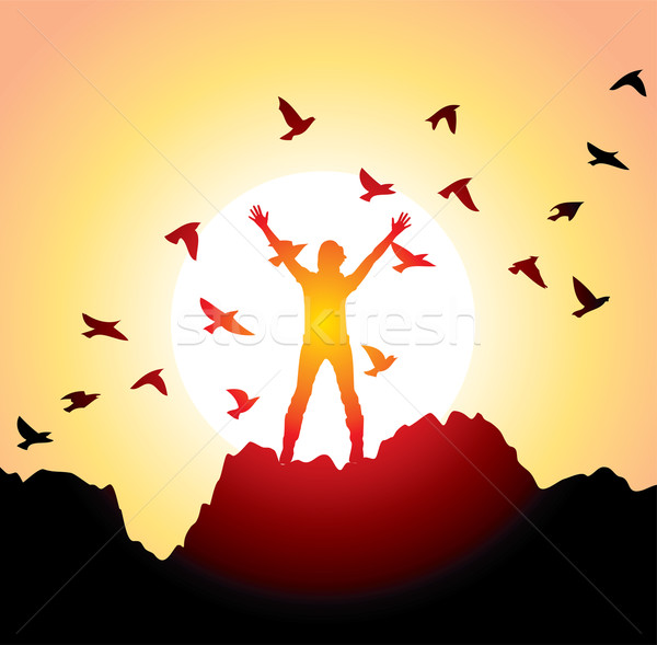 girl with raised hands and flying birds Stock photo © freesoulproduction