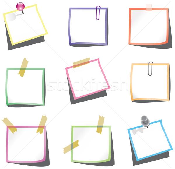 Wektora papieru zauważa pin spinacz Zdjęcia stock © freesoulproduction