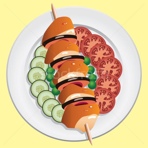 Stock fotó: Vektor · grillcsirke · zöldségek · étel · hal · fény