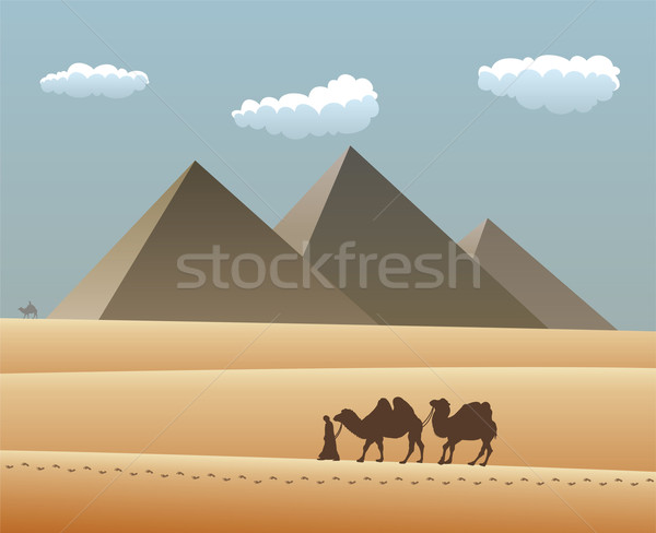 vector camels and bedouin in desert Stock photo © freesoulproduction