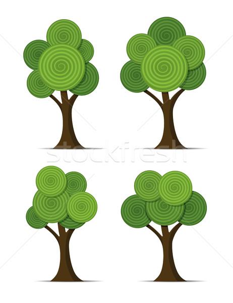 Vektor szett stilizált absztrakt fák spirál Stock fotó © freesoulproduction