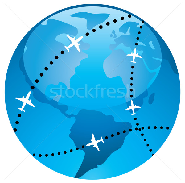 vector airplane flight paths over earth globe Stock photo © freesoulproduction