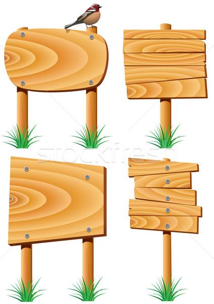 Stockfoto: Vector · houten · communie · gras · vogel · boom