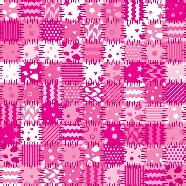 Vektor rózsaszín tákolmány művészet virág absztrakt Stock fotó © freesoulproduction