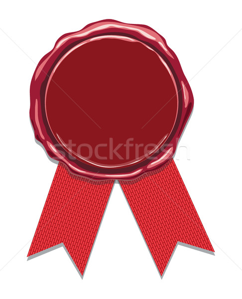 vector wax seal with red ribbons Stock photo © freesoulproduction