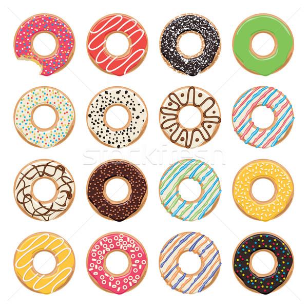 Stockfoto: Vector · iconen · kleurrijk · donuts · witte · een
