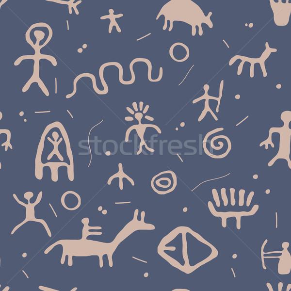 vector ancient cave petroglyphs seamless pattern Stock photo © freesoulproduction