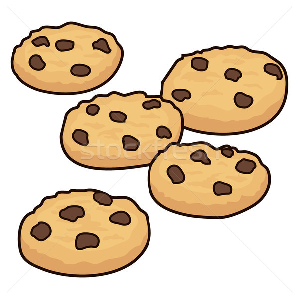Vector ingesteld chocolade chip cookies geïsoleerd Stockfoto © freesoulproduction