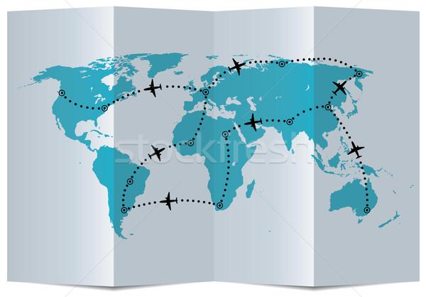 Сток-фото: вектора · бумаги · карта · самолет · полет · морем