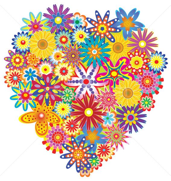 Vektor virágmintás szív színes virágok tavasz Stock fotó © freesoulproduction