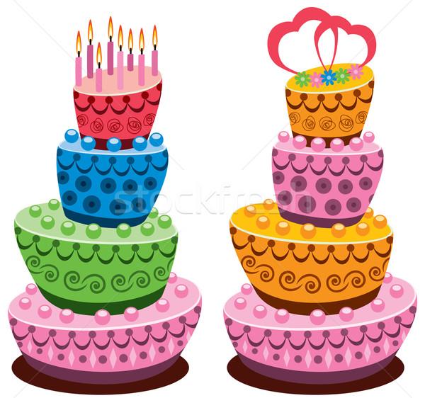Vector verjaardag bruiloft gebak brandend kaarsen Stockfoto © freesoulproduction