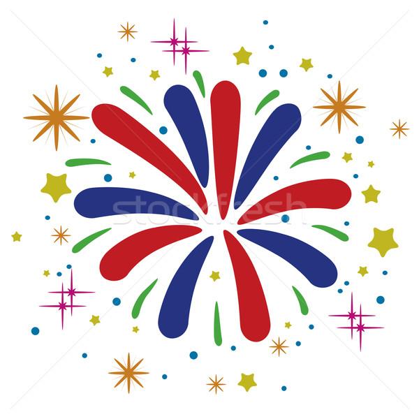 Stockfoto: Vector · abstract · verjaardag · vuurwerk · sterren