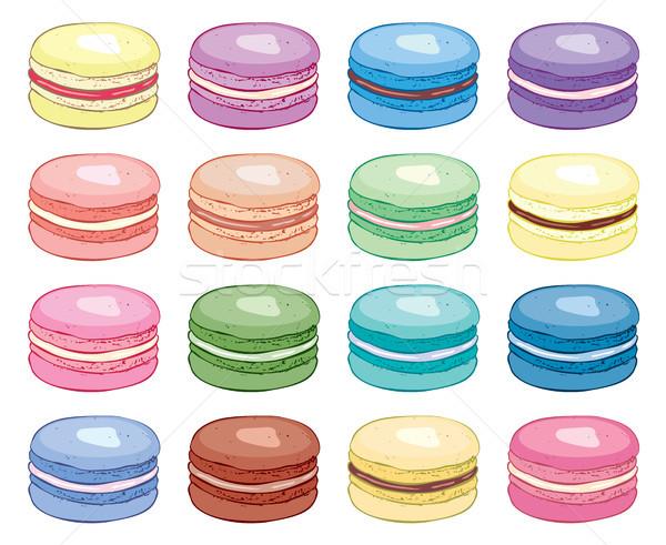 ベクトル コレクション カラフル フランス語 マカロン 食品 ストックフォト © freesoulproduction