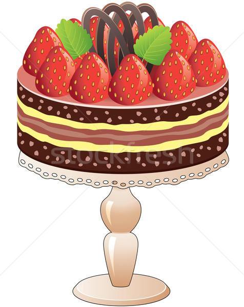 cake  with strawberry and chocolate Stock photo © freesoulproduction
