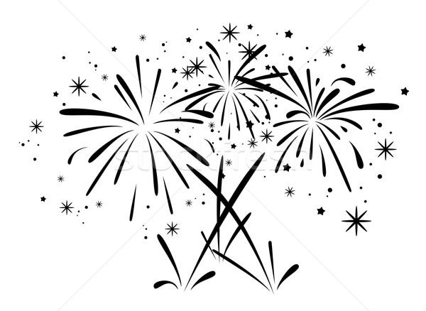 Foto stock: Vetor · abstrato · preto · e · branco · fogos · de · artifício · aniversário · estrelas