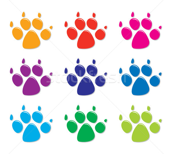 vector set of colorful dog's foot prints, flat style Stock photo © freesoulproduction