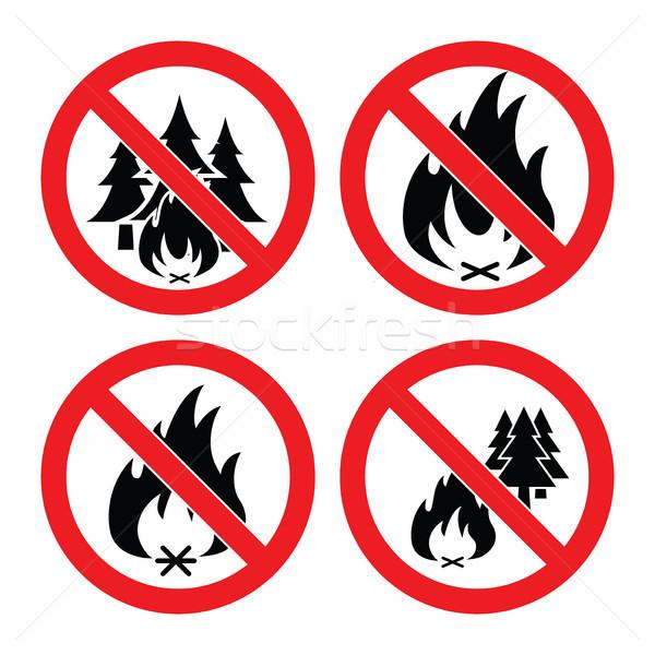 Zdjęcia stock: Wektora · kolekcja · nie · pożar · lasu · ikona · alarm