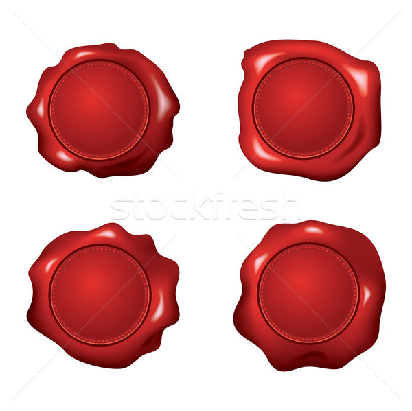 vector set of red wax seals Stock photo © freesoulproduction