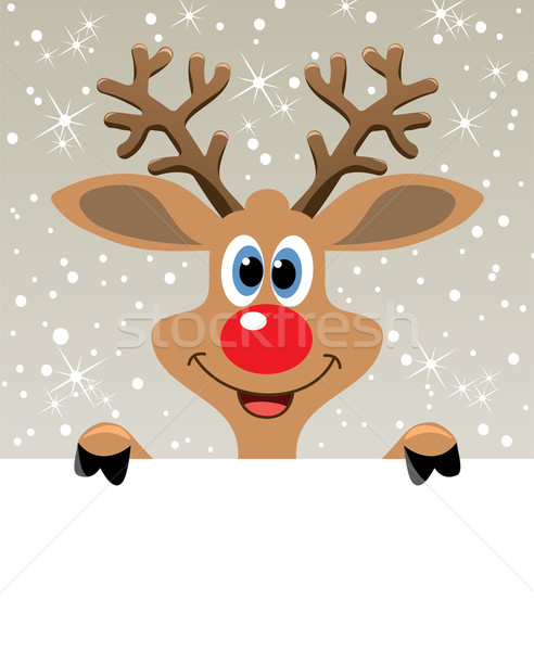 vector red nosed reindeer holding blank paper  Stock photo © freesoulproduction