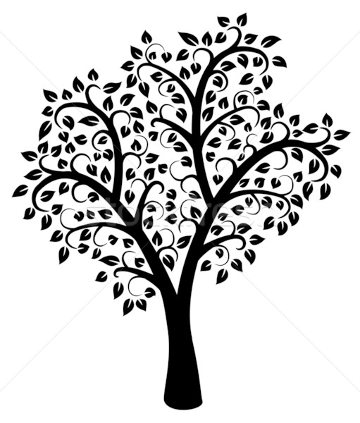 vector black and white tree vector illustration © Dmitry ...