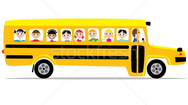 Vecteur bus scolaire enfants fille route école Photo stock © freesoulproduction