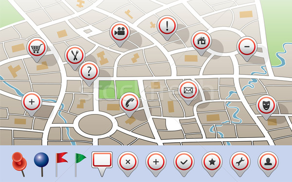 city map with GPS icons Stock photo © freesoulproduction