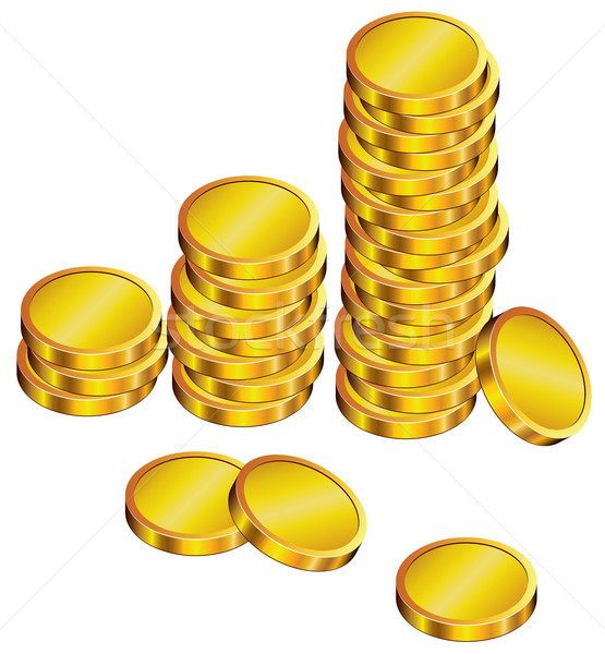 vector group of golden coins Stock photo © freesoulproduction