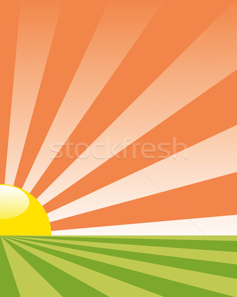 vector background with rising sun Stock photo © freesoulproduction