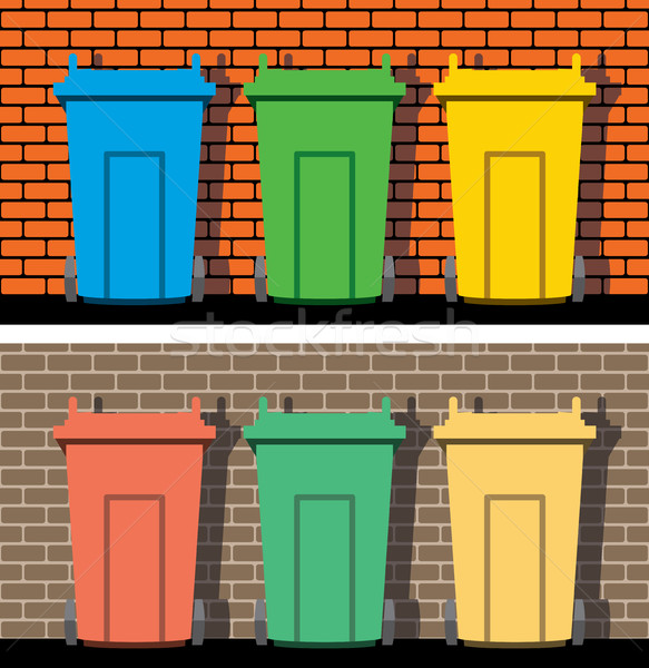 vector recycling wheelie bins against the background of a brick  Stock photo © freesoulproduction