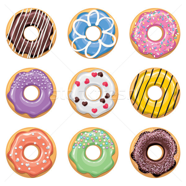 Vecteur style icônes coloré donuts modernes Photo stock © freesoulproduction