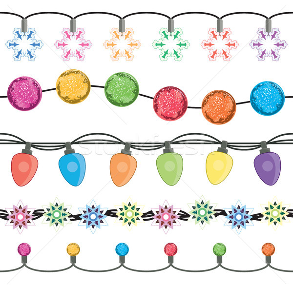 vector seamless strings of christmas light garland lamps Stock photo © freesoulproduction