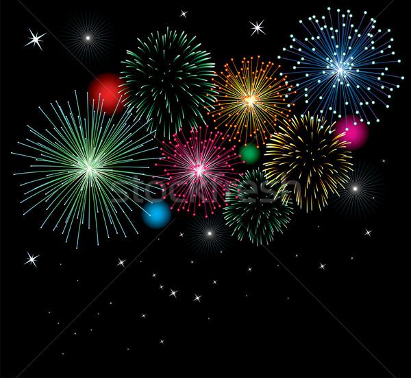 Foto stock: Vetor · fogos · de · artifício · estrelas · luzes · céu · feliz