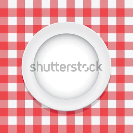Vetor vermelho piquenique toalha de mesa vazio prato Foto stock © freesoulproduction