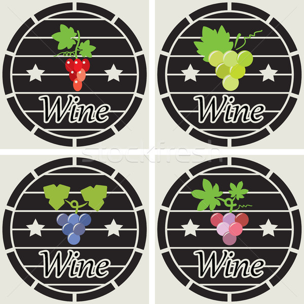 Stock photo: vector icons of wooden casks with wine grape clusters