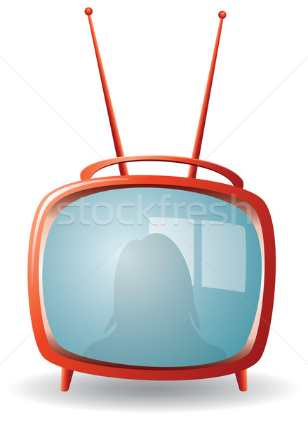 vector red retro tv set  Stock photo © freesoulproduction