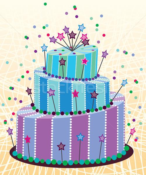 Сток-фото: вектора · большой · именинный · торт · продовольствие · вечеринка · счастливым