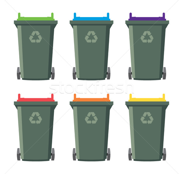 vector set of recycling wheelie bin icons Stock photo © freesoulproduction