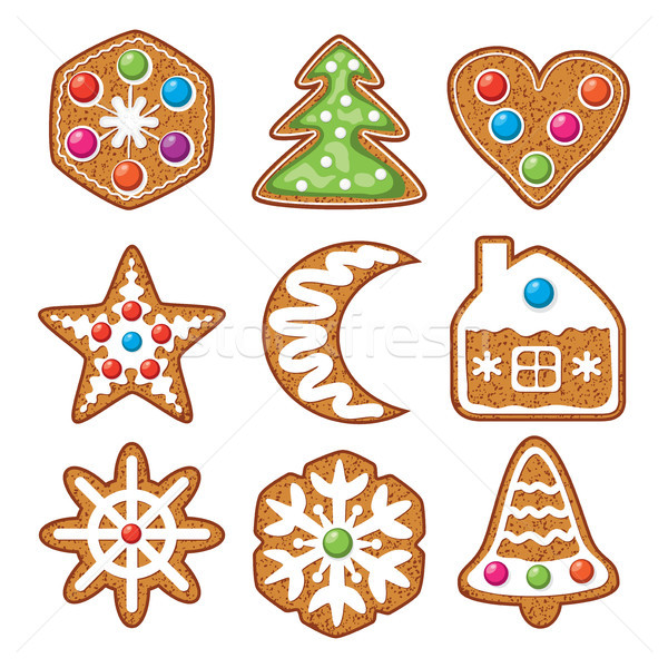 vector set of colorful xmas gingerbread cookies Stock photo © freesoulproduction