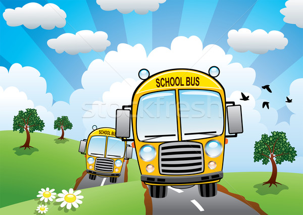 vector yellow school buses on a country road  Stock photo © freesoulproduction