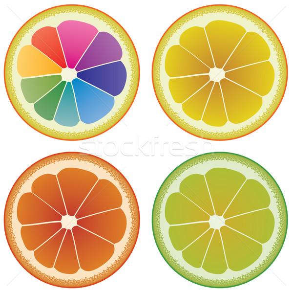 ベクトル セット カラフル 柑橘類 スライス 健康 ストックフォト © freesoulproduction