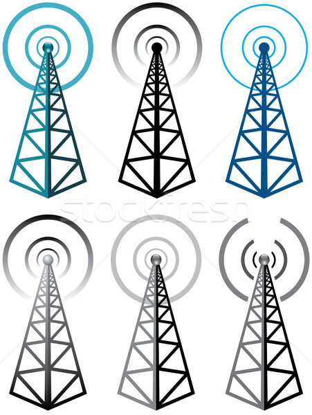 vector set of radio tower symbols Stock photo © freesoulproduction