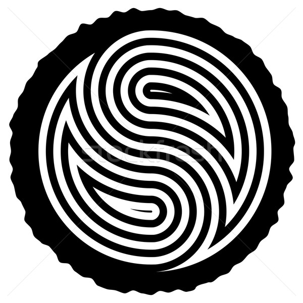 vector black and white wooden log cut with yin and yang symbol  Stock photo © freesoulproduction