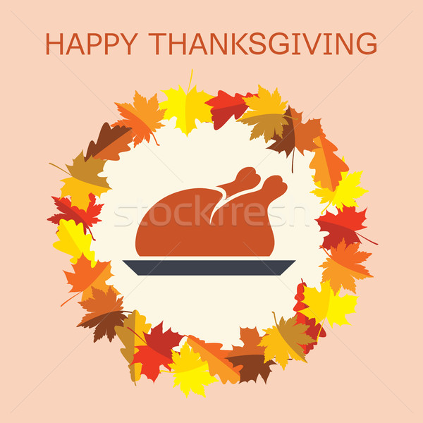 vector cooked turkey for thanksgiving day and autumn leaves Stock photo © freesoulproduction